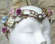 bridal flower crown white floral crown by Ayalga on Etsy