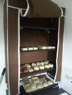 Loving my shoe rack soap curing cupboard!!