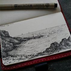 Talland Bay drawn in my moleskin on our last day #sketchbook #moleskin www.lorriewhittington.co.uk