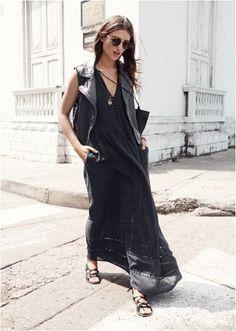 black dress & leather vest. Madrid.