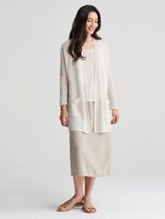 Straight Long Cardigan in Fine Organic Linen Crepe Knit-S7CJT-K4259