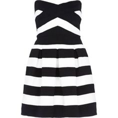 Black and white stripe bandeau prom dress by: River Island