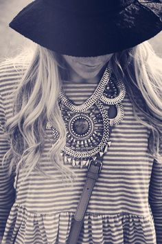 stripes + statement necklace