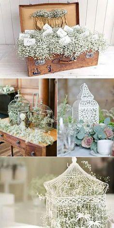 Baby's breath everywhere. Chic Wedding, Rustic Wedding, Our Wedding, Dream Wedding, Flower Decorations, Wedding Decorations, Event Decor, Floral Arrangements, Wedding Flowers