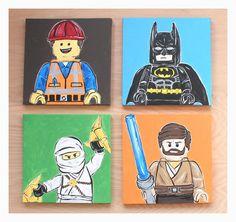 LEGO figure art . 12x12 canvases. set of 4 . batman, bad cop, emmet, yoda, obi wan, ninjago . LEGO movie . custom colors. pick characters on Etsy, $160.00
