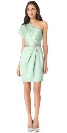 Lela Rose One Shoulder Draped Dress