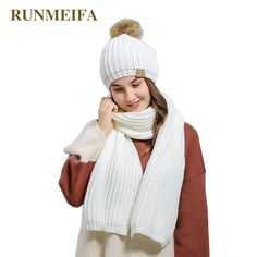 54389f3285b Winter Women Scarf and Hat Set Warm Blanket Scarf Girl Winter Knitted Hat  with Fur pompom Luxury Winter Accessories 2017