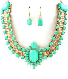 TURQUOISE BIANCA STATEMENT NECKLACE SET