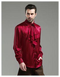 fanplusfriend - Steel Rose, Steampunk Wedding Elegant Gothic Silk Shirt