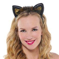 Black & Gold Cat Ears Faux Leather Headband - 348919 | trendyhalloween.com #halloweenaccessories