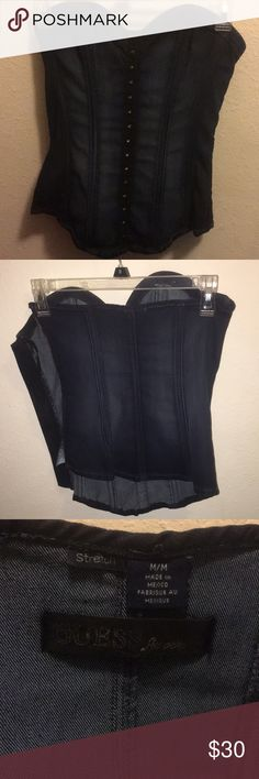 Blue jean bustier corset style stretch by guess. Zip side corset style stretch Guess Tops Blouses