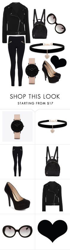 """Total black and a little bit of pink"" by sophie01234 ❤ liked on Polyvore featuring CLUSE, Betsey Johnson, Dorothy Perkins, STELLA McCARTNEY, Jessica Simpson, Equipment, Prada and Brika"