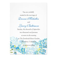 Blue Forget Me Not  Wedding Invitation