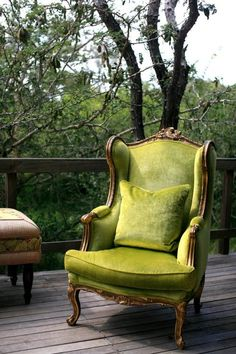 French Victorian wing back tufted chair with a beautiful wood trim and bright green crushed velvet fabric - inspiration from #chinatownefurniture
