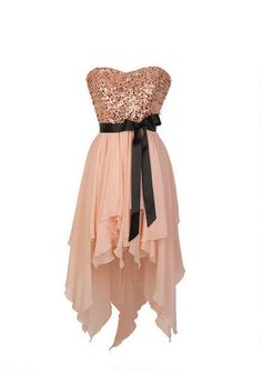 Strapless high-low dress with sequin bodice and handkerchief hem detail. Self-tie ribbon belt at waist. Back zipper for better fit. Fully lined.