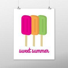 Summer Art Print, Wall Art, Home Decor, Summer Print, Popsicle Print, Sweet Summer, Summer Decor, Wall Decor, Instant Download, Popsicle Art