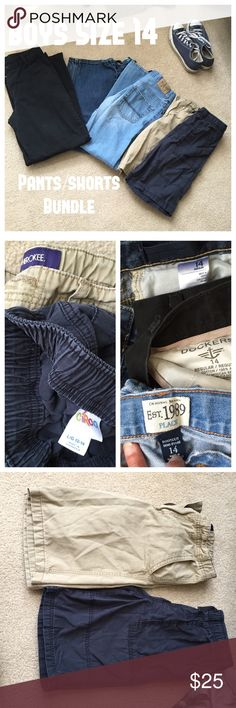BOYS pants bundle Old Navy regular loose jeans Children's Place Bootcut light jeans Dockers regular flat front black khakis Cherokee tan flat front shorts Circo blue pull on shorts (L 12-14) All pants in good used condition.  Dockers are like new condition. Must buy whole bundle.  This bundle requires additional shipping cost thus price firm. Various Bottoms