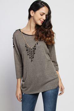 Plus Buttoned Cut Out Shoulder Necklace Knit Top - $25.00