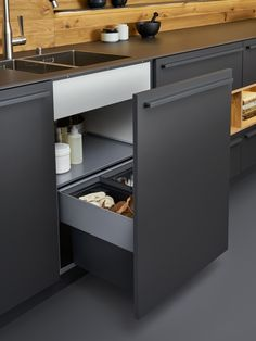 Beautiful black matt kitchen from Leicht, available at the Leicht Kitchen Design Centre.