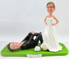 Athlete Couple Soccer Wedding Cake Topper