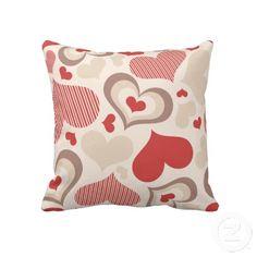 "Heart Shapes American Mojo Pillow. Throw Pillow 20"" x 20""."
