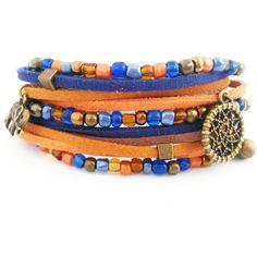 Orange blue and brown bracelet, wrap bracelet, boho bracelet, orange... (8.955 HUF) ❤ liked on Polyvore featuring jewelry, bracelets, charm bangles, bohemian wrap bracelet, bronze charms, charm bracelet bangle and beaded wrap bracelet