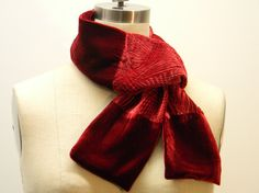 CHRISTMAS SALE One Of A Kind Red Silk Velvet Scarf by Olimpias