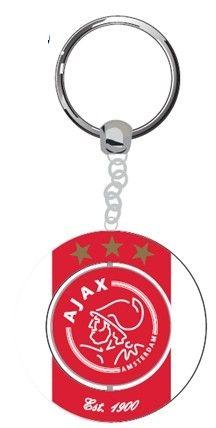 Sleutelhanger ajax rood/wit logo est 1900   Afmeting: volgt later.. - Sleutelhanger ajax metaal rood/wit logo est 1900
