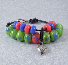 Knitting or Crochet Row Counter Bracelet  Lampwork by tanyamcguire