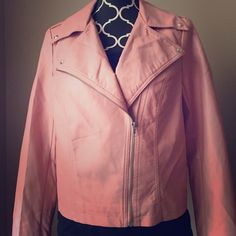 Pink Faux Leather Moto Jacket Forever 21 size medium. Very cute! Looks great styled with jeans and high boots. Forever 21 Jackets & Coats