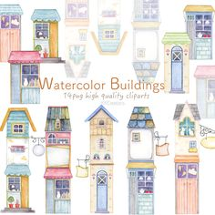 House Clipart, Urban Cottage, Building Illustration, Cute House, City Architecture, Craft Business, Whimsical Art, Art Images, Gallery Wall