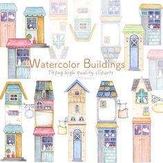 Urban Cottage, Cute Cottage, House Clipart, Watercolor Books, Building Illustration, House On Stilts, Cute House, Frame Wreath, City Architecture