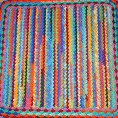 Multicolour Rainbow Afghan Crochet Puppy Blanket by CrochetRagRug