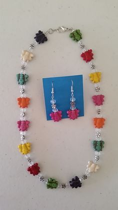 Multicolored bee´s necklace with matching earrings