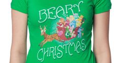 Care Bear Christmas Shirt made by Trevco in collections: 80s Cartoons: Care Bears, & Department: Adult Juniors, & Color: Kelly Green