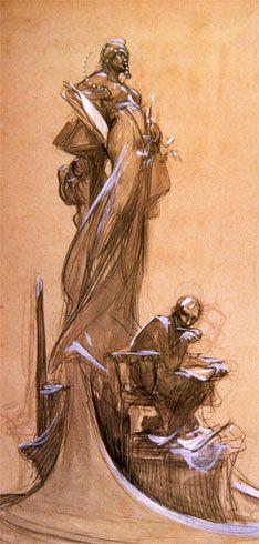 Drawing by Alphonse Mucha Trois Crayons, Alphonse Mucha Art, Baroque Art, Art Nouveau, Rembrandt, Art Studies, Storyboard, Religious Art, Art Deco Posters
