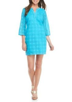 Crown  Ivy  Rothko Aqua Petite Solid Eyelet Dress
