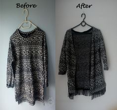 Transformation: blouse into sweater with fringes :)