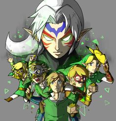 The Legend of Zelda, The Legend of Zelda: The Adventure of Link, A Link to the Past, Link's Awakening, Ocarina of Time, Majora's Mask, Oracle of Ages / Oracle of Seasons, Four Swords, The Wind Waker, The Minish Cap, Twilight Princess, Phantom Hourglass, Spirit Tracks, Skyward Sword, and The Legend of Zelda: A Link Between Worlds / Link, Toon Link, and Fierce Deity Link / 「全力で豆まきしましょう」/「グッピー@ムジュラ待機」のイラスト [pixiv]