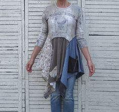 Faded Shabby Chic Colors, Upcycled Tunic, Upcycled Clothing, Size Small or Medium
