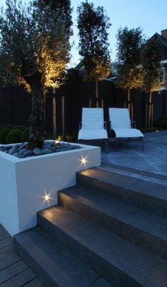 www.detuin.info index.php?module=gallery&s=Afgeronde+projecten Backyard Pool Designs, Backyard Garden Design, Patio Design, Backyard Patio, Backyard Landscaping, Outdoor Steps, Patio Steps, House Landscape, Landscape Design