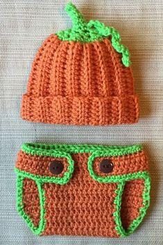 Crochet Pumpkin Hat and Diaper Cover, Halloween, Baby Photo Prop, Orange Hat…