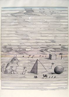 """Egypt, 1967  Ink on music notation paper  19"""" x 12 1/2""""  Illustrated in Saul Steinberg's """"The Inspector"""""""
