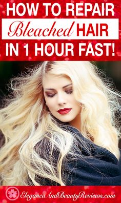 How to Repair Bleached Damaged Hair Fast! 1 Hour EASY Remedy How to Repair Bleached Damaged Hair Fas Damaged Hair Repair Diy, Bleach Damaged Hair, Bleached Hair Repair, Hair Mask For Damaged Hair, Bleaching Your Hair, Bleach Blonde Hair, Diy Hair Mask, Hair Masks, Treatment For Bleached Hair