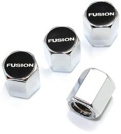 """(4 Count) Cool and Custom """"Hexagon Ford Fusion Logo Top with Easy Grip Shape"""" Tire Wheel Rim Air Valve Stem Dust Cap Seal Made of Hardened Rubber {Stylish Mercedes-Benz Silver and Black Colors - Hard Metal Internal Threads for Easy Application - Rust Proof - Fits For Most Cars, Trucks, SUV, RV, ATV, UTV, Motorcycle, Bicycles} Ford Fusion Custom, Internal Thread, Wheel Rim, Black Colors, Hard Metal, Atv, Bicycles, Rust, Mercedes Benz"""