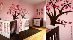 "Eliane designed a modern pink nursery for her little girl. Check it out on On to Baby website: http://www.ontobaby.com/2011/11/bold-pink-modern-nursery/   Customized Wall Sticker ""Owl Tree"" by LittleLion Studio"