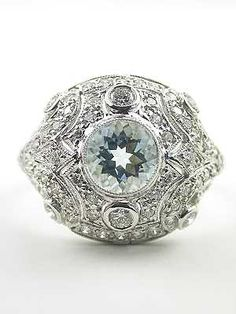 aquamarine engagement rings | Antique Filigree Aquamarine Engagement Ring, RG-3036