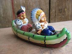 "Awesome Vintage ""Indians Canoe"" Salt & Pepper Shakers"