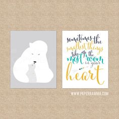 The Smallest Things Polar Bear, Modern Baby Nursery Art // Warm & Fuzzy Collection // Choose Art Print or Canvas // N-XF11-2PS