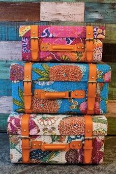 Travel in color! ~ Bohemian suitcases ~ colorful wooden trunk cases covered with Kantha quilt handcrafted textiles from India. Gives me an idea to cover a hardshell suitcase with fabric, and I love the belts too! Kantha Quilt, Quilts, Suzani Fabric, Upholstery Fabrics, Hippie Bohemian, Bohemian Decor, Boho Chic, Boho Gypsy, Boho Style